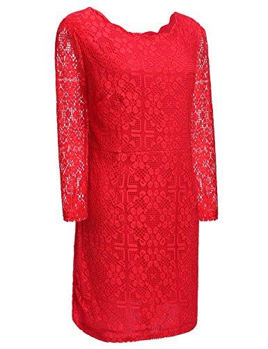 ZEARO Frauen Yards Dünne Spitze mit langen Ärmeln Runder Ausschnitt Kleid Sexy Elegantes Abendkleid Rot