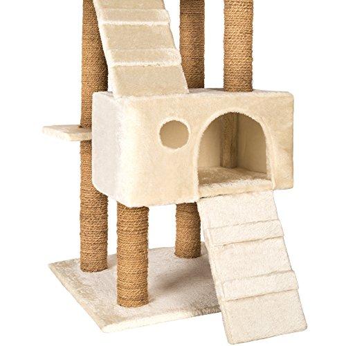 TecTake Katzen Kratzbaum Katzenbaum mittelhoch   Stämme komplett mit Kokosseil umwickelt   2 Höhlen – diverse Farben – (Beige   Nr. 402190) - 4