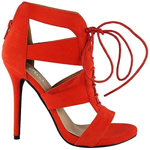 Loudlook Delle Nuove Donne Signore Caviglia Lace Up Peeptoe Alto Tacco A Spillo Partito Ritaglio Scarpe Stivali Dimensione 3-8 Red