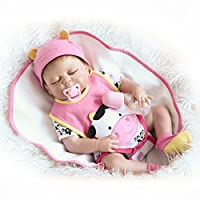 Decdeal 22inch 55cm Reborn Baby Doll Girl Full Silicone Sleeping Doll Baby Bath Toy With Clothes Lifelike Cute Gifts Toy Pink Cow