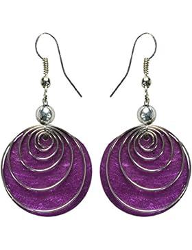 Ohrringe aus Muschel in vielen schönen Farben, Farbe:lila