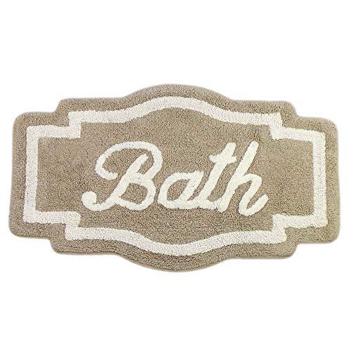GLShabby Badteppich Badematte Geformte Design Badvorleger Landhaus Shabby Chic - Geprägte Dekoration Bath - 61x113 - Beige/Elfenbein - 100{2718a97970a51009375adea56c0118db1dc3a570c1139fb6645b3c87cbc05140} Baumwolle