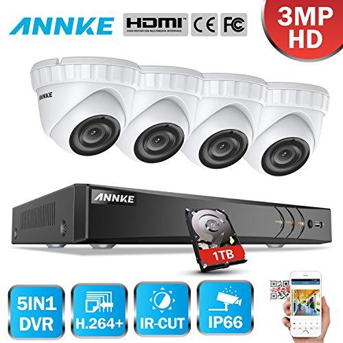 ANNKE-8CH-3MP-DVR-con-4pcs-Cmaras-en-Domo-Kit-Sistema-de-Vigilancia-Seguridad-ExteriorInterior-IR-LED-Deteccin-de-movimiento-1TB-disco-duro-de-vigilancia