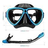 INTEY Schnorchelset Taucherbrille mit Schnorchel, Dry Schnorchel Schnorchelmaske inkl. Ausblasventil und Anti-Fog Taucherbrille aus Gehärtetem Glas für Erwachsene und Kinder, Blau/Schwarz - 2