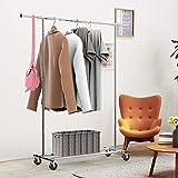 Yaheetech Kleiderständer auf Rollen Metall kleiderstange Garderobe Garderobenständer klappbar Länge 108-168cm, max. Belastbarkeit 90 kg