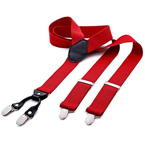 DonDon tirantes anchos 3,5 cm para hombres con 4x clips con cuero en forma de Y - elástico y longitud ajustable - rojo