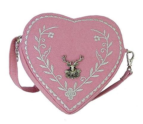 Damen Dirndl Handtasche Herz Umhängetasche - Herztasche florales Design mit Hirsch (Rosa)