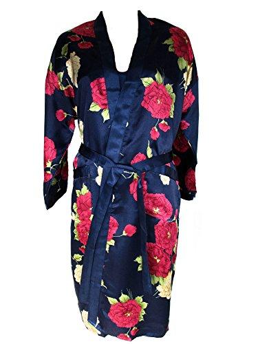 Edles Nachtwäsche-Set, Negligé + kurzer Kimono, dunkelblau, marine mit Blumenmuster, AM-Da-dlBL, Größe:M=36 (Seide Negligé)