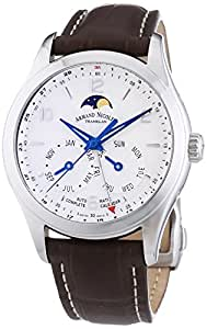 Armand Nicolet Men's Automatic Watch with Silver Dial Analogue Display and Brown Leather Strap 9742B-AG-P974MR2