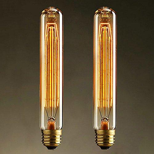 KJLARS 2 x Vintage Retro Edison Glühbirne Glühlampe E27 T185 25W birne Lampe tube Flötenrohr Industry Style Leuchtmittel (Uv-led-tube)