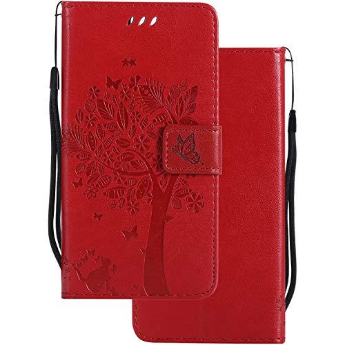 LEMORRY Handyhülle für Microsoft Lumia 640 LTE Hülle Tasche Geprägter Ledertasche Beutel Schutz Magnetisch Schließung SchutzHülle Weich Silikon Cover Schale für Lumia 640 LTE, Glücklicher Baum Rot