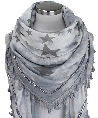 XXL Damen STERN Schal mit Bommeln Pailletten Tuch Deckenschal Patches Halstuch Fashion (Grau/Dunkelgrau)