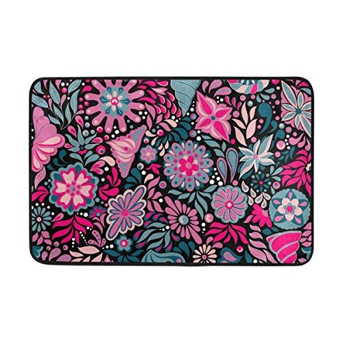 Senwei Florals Muster Fußmatte Rutschfeste die Sauberlaufmatten für Eingang Weg Outdoor Innen-59,9x 39,9cm vor Teppich Home Decor, Polyester, Pink - Dichte, Florale Muster