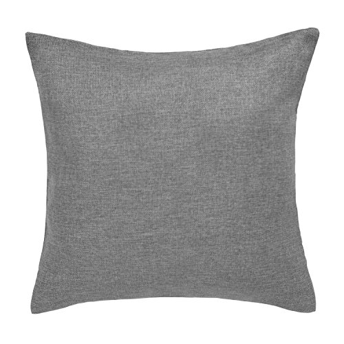 Deconovo Soft Faux Linen Home Decorative Hand Made Pillowcase Cushion Cover for Chairs with Invisible Zipper 18 x 18 Inch Light Grey