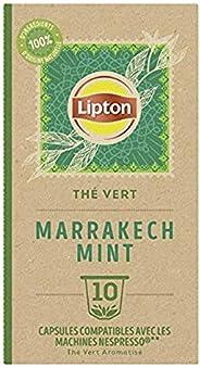 Lipton Thé Vert Marrakech Mint, 10 Capsules Compatibles Nespresso, Antioxydant et Parfumé, Menthe Fraîche et D
