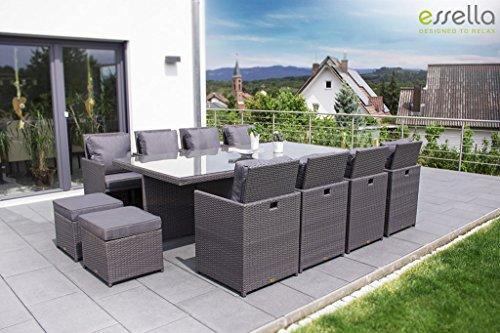 Essella Vienna Set tavolo e sedie in polyrattan, 8 pezzi, grigio