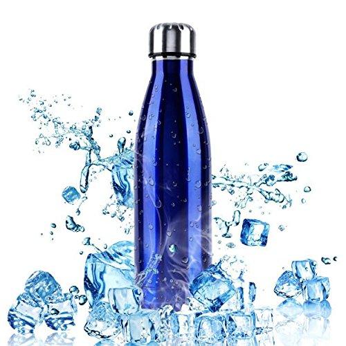 Botella de Agua Deportiva de Acero Inoxidable, W-top 500ml Doble Pared Aislada al Vacío Botella Térmica Perfecto para Deportes al Aire Libre Camping Senderismo Ciclismo (Azul)