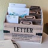 Briefablage Holz Dokumentenhalter Schreibtisch Postablage Büro Briefständer Briefhalter Papierablage Briefbox (G1)