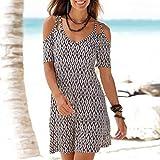 Amphia - Damen böhmisches Kleid - Frauen mit V-Ausschnitt Boho Print Kurzarm lässig Mini Beachwear Kleid Sommerkleid(Weiß,S)