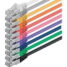 1aTTack - Cable de red FTP con 2 conectores RJ45 (categoría 5, 10 unidades) 10 colores 0,50m