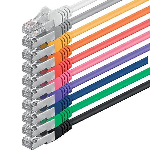 1aTTack CAT5 FTP Netzwerk Patch Kabel mit 2 x RJ45 Stecker Set (10 Farben, 10 Stück) 1m