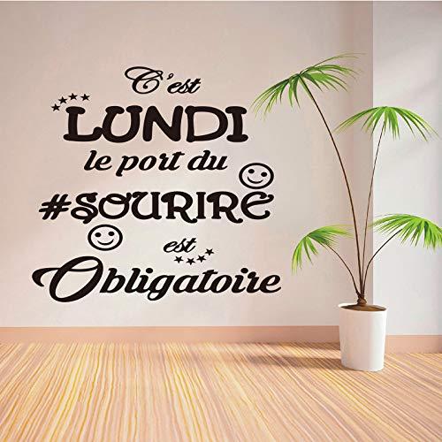 Citazione dell'adesivo murale in vinile francese HNXDP è lunedì che indossa un sorriso obbligatorio carta da parati staccabile moderna decorazione della casa di moda55X55cm