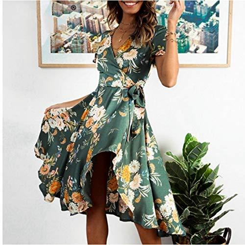 Satin Wrap Kleid (JJHR Kleider Eleganter Blumendruck Satin Frauen Kleid Wrap V-Ausschnitt Hohe Taille Sommerkleider Fliege Grün Lässig Weiblich, S)