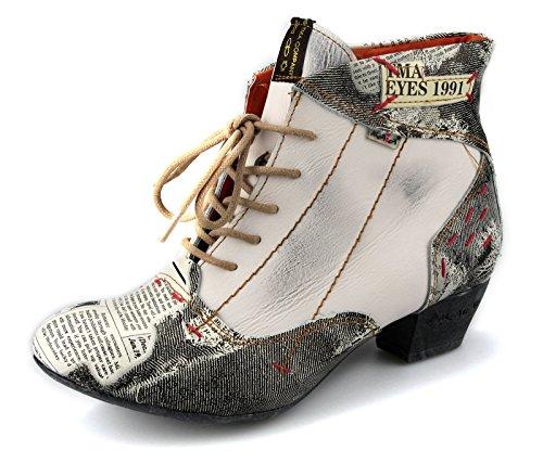 TMA Damen Stiefeletten Leder Damenschuhe Boots Schuhe 7616 Weiß / Beige