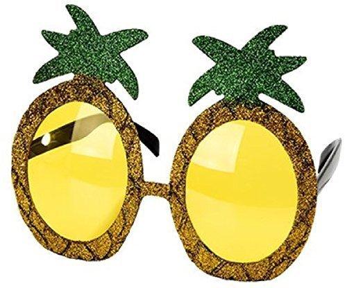 ren Glitzer grün Gelbgold Ananas Frucht Fünf Ein Tag Hawaii tropisch Fest Karneval Sommer Kostüm Kleid Outfit Brillen (Ananas Kostüme)