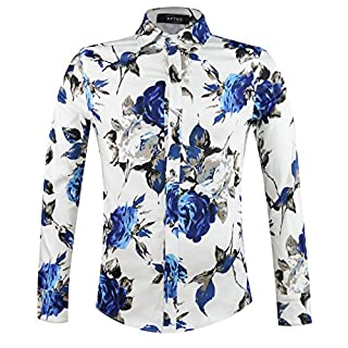 APTRO Men's Cotton Fashion Long Sleeve Floral Shirt #1902 M