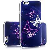 Sofort lieferbar tinxi® Silikon Schutzhülle für Apple iPhone 6/6s 4.7 zoll Hülle Silicon Rückschale Cover Case Etui Schutz Schmetterling in lila