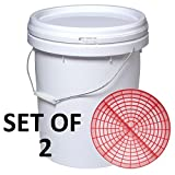 Set of 2 Buckets and Grit Guards, Premium Quality, Prevent Swirls and Scratches when Washing Your Car, 20 Litre Buckets with Lids