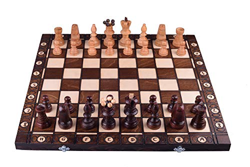 Amazinggirl Handmade chess set. Wooden Noble chess board. Chess pieces for children. Professional chess cassette with hand-carved figures. (54 x 54 cm)