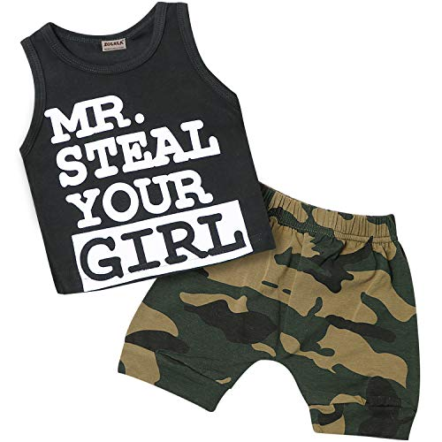 Zoerea Baby Junge Kleidung Outfit,Baumwolle Ärmellos T-Shirt + Shorts Set Mr. Steal Your Girl Druck Schwarz,70