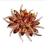 YAZILIND Fashion big rhinestones en cristal Alliage Zirconia Broche Corsagee Femmes filles Accessoires (Champagne)
