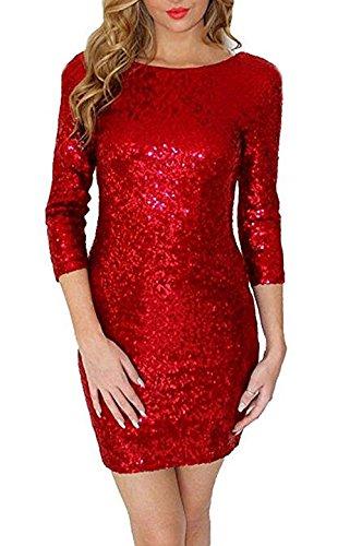 YaoDgFa Damen Paillettenkleid Minikleid Cocktailkleid Abendkleid Partykleider Etui Kleid mit Pailletten Langarm Rückenfrei Kurz