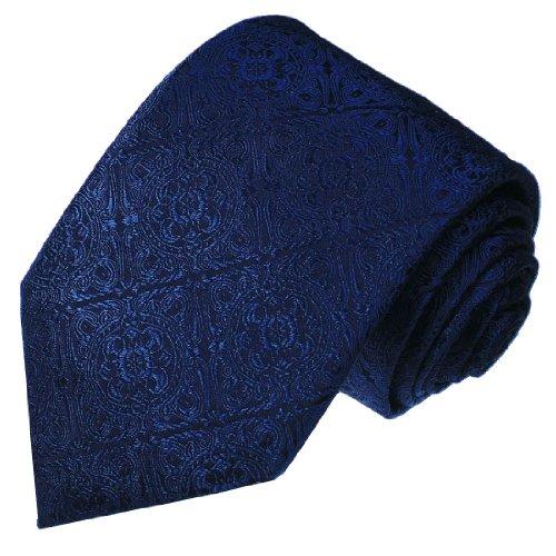 Lorenzo Cana - Luxus Marken Krawatte aus 100% Seide - blau dunkelblau Barock - 25016