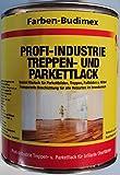 Farben-Budimex Profi-Industrie Treppen- u. Parkettlack / farblos / seidenmatt / 750 ml / transparenter Überzugslack auf Polyurethan-Acrylatbasis / v. Fachhandel, für höchste Ansprüche ,Spezial Klarlack für Parkett, Treppen , Holzböden , Möbel u.v.m. / ausgezeichnete Haft- u. Kratzfestigkeit / geruchsarm / schnelltrocknend / sehr guter Verlauf u. Füllkraft / Lichtbeständigkeit / gute mechanische Belastbarkeit / empfohlen für Handwerk u. Industrie