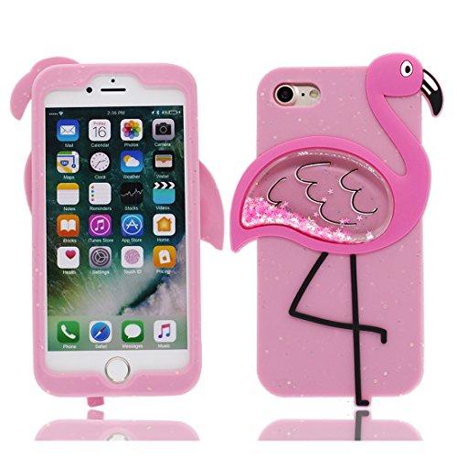 iPhone 8 Custodia, iPhone 8 Copertura Premium TPU Nuovo prezzo basso di marca in iPhone 8 case [Anti-Scratch] [assorbimento di scossa] (3D Fenicottero) rosa