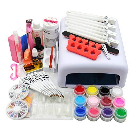Coscelia kit nail art kit ricostruzione unghie 12pc gel uv per unghie 36w bianca lampada uv gel ricostruzione unghie