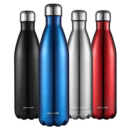 Cmxing Doppelwandige Thermosflasche 500 mL & 750 mL mit Tasche BPA-Frei Edelstahl Trinkflasche Vakuum Isolierflasche Sportflasche für Outdoor-Sport Camping Mountainbike (blau, 750 mL)