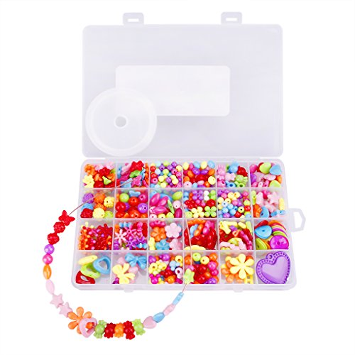 YJZQ Kinder Schmuck Spielzeug 500 pcs Pop Perlen Bildung Lernspielzeug DIY Schmuckherstellung Set Halskette Armband Kunst Handwerk Geschenk Spielzeug für Mädchen ab 3 Jahre