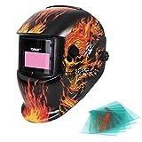 Yorbay® Solar Automatisch verdunkelnd Schweißhelm Schweißmaske mit 5 Stück Ersatzgläser, Schleif-Funktion (Skull, Eisenkette)