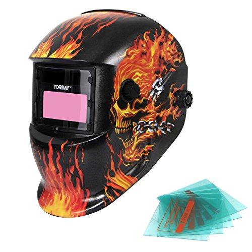 Yorbay Solar Automatisch verdunkelnd Schweißhelm Schweißmaske mit 5 Stück Ersatzgläser, Schleif-Funktion (Skull, Eisenkette)