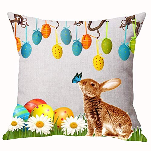 apnzll Season's Blessing Happy Easter Beautiful Rabbit Bunny Color Eggs Butterfly Bead Curtain Cart On The Grass Cotton Decorative Home Office Throw Pillow Case Cushion Cover Square 18X18 Inches