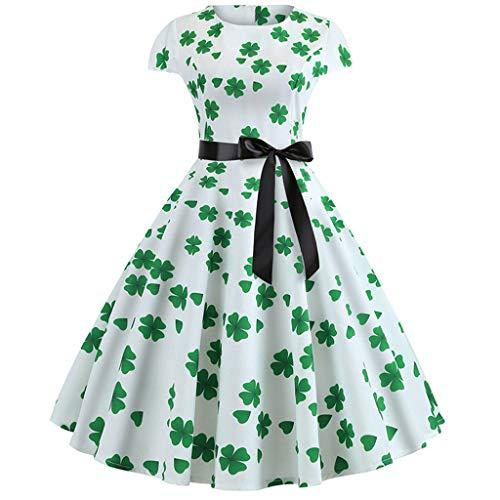 men Elegant Kleider,Damen Halloween Vintage 1950s Kleeblatt Kurze Ärmel Swing Kleider Minikleid Abendkleider Sommerkleid Ballkleider Cocktailkleid ()