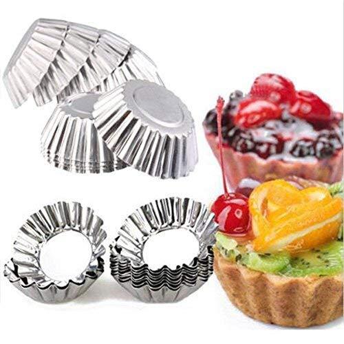 20Stück Backen Zirkular Ei Tart Aluminium Cupcake Kuchen Cookie Form gefüttert Form Dose Backen Werkzeug Kuchen Cups Pie Pfannen Cup Form