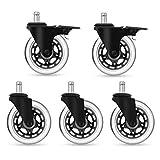 YOHOOLYO 5 Set Bürostuhlrollen mit Bremse Ruhiges Drehstuhlrollen Caster Räder 11x 22mm geeignet für die meisten