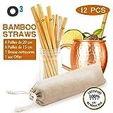 O³ Paille Bambou Reutilisable - 12 Pailles Ecologiques en Bambou 100% Naturel-Inclus un Goupillon et une pochette de transport