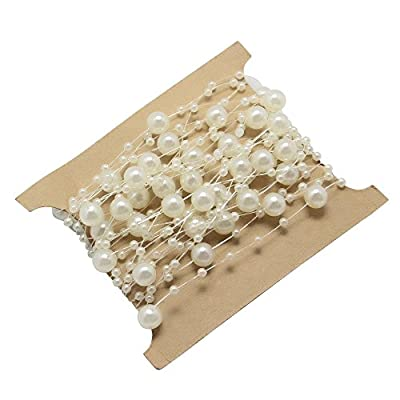 Homgaty Artificial Pearl Beads Chain Fishing Line Garland DIY Wedding Party Flower Craft Hair Decoration from Homgaty